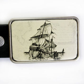 Clipper Ship Pirate Belt Buckle