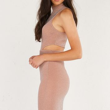 AKIRA Mock Neck Sleeveless Midi Dress with Side and Back Cutouts in Mauve
