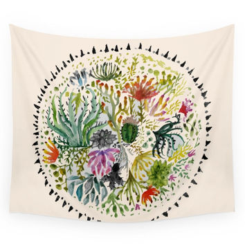 Society6 Succulents Mandala Wall Tapestry