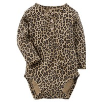 Carter's Animal Print Henley Bodysuit - Baby Girl, Size: