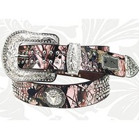 "Montana West Pink Camo Steer Head Rhinestone Leather Belt (Medium (34"" - 38""))"
