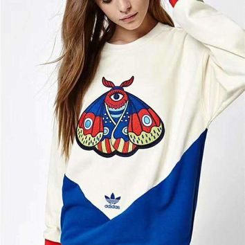 ESBONS Adidas' Women Personality Sport Casual Multicolor Butterfly Embroidery Long Sleeve Sweater Pullover Sweatshirt Tops