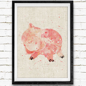 Toy Story Hamm, Disney Watercolor Print, Baby Nursery Room Art, Home Decor, Not Framed, Buy 2 Get 1 Free!