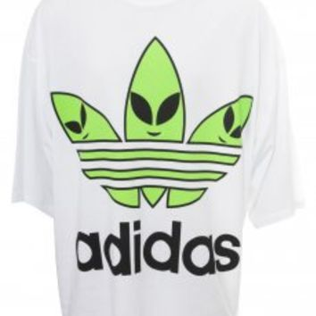 Jeremy Scott for Adidas | Oversized Alien Trefoil T-Shirt White | Online at Hervia.com