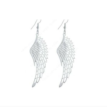 White  Gold Silver Plated  Dangle Long Earings