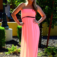 ISLAND DREAM MAXI DRESS W/BELT IN NEON CORAL