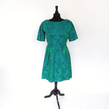SIZE LARGE Vintage 1960s Kelly Green Teal Silk Brocade Dress Floral Damask Cocktail Dress Prom Gown Party Dress Mad Men 60s Tea Dress