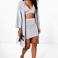 Cass Mini Skirt Bralet & Drape Jacket Co-Ord Set | Boohoo
