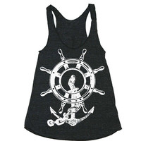 Womens Anchor Ship Wheel Tri-Blend Racerback Tank - American Apparel tanktop shirt - XS, S, M, and L (9 Color Options)
