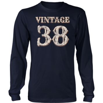 Men's Vintage 38 Long Sleeve Tshirt 80th Birthday Gift for 80 Year Old