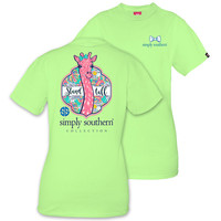 Simply Southern Preppy Stand Tall Giraffe Lime T-Shirt
