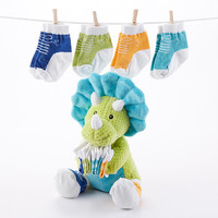 Tricerasocks Plush Plus Dino with 4 Pairs of Socks for Baby