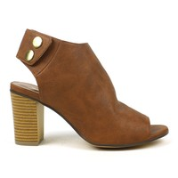 Mark and Maddux Eddi-01 Wood-stacked Heel Booties in Cognac @ ippolitan.com