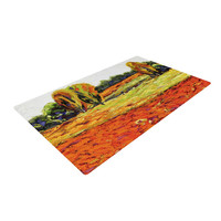 "Jeff Ferst ""Summer Breeze"" Orange Foliage Woven Area Rug"