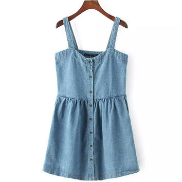 Korean Summer Lovely Denim Vest Slim One Piece Dress [4919452548]