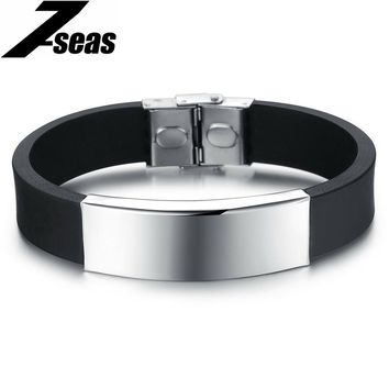 Silicone Rubber Bracelet with Stainless Steel Clasp