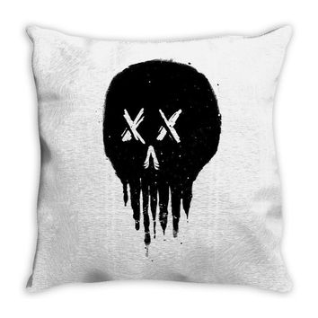trickle skull Throw Pillow