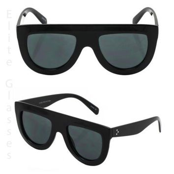 Flat Top Aviator Black Frame Oval Retro Mirror Lens Women Elite Sunglasses