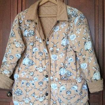 Quilted Jacket rustic distressed boho jacket blanket coat mori girl clothing reversible jacket floral tan cotton women medium vintage 90s