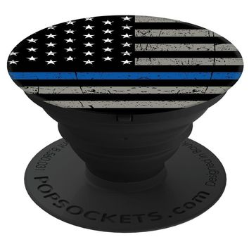 "PopSockets Cell Phone Stands - Smartphones & Tablets - ""Brave New Look Thin Blue Line - Police Officer"""