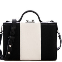 Bekka Colorblock Stripe Handbag in Black/White