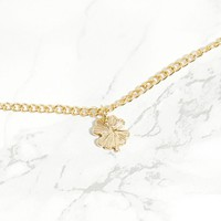 Gold Lucky 4 Leaf Clover Necklace