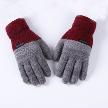 Brand Winter Men Cashmere Gloves Casual Touch Screen Warm Knitted Patchwork male Mittens Jacquard Thicken Solid Driving Gloves