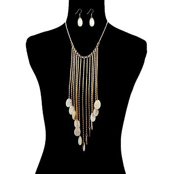Abalone Shell Drop Fringe Necklace Set