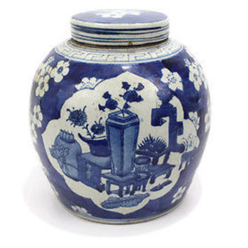 Beautiful Chinese Blue and White Porcelain Ginger Jar Medallion Style 10""