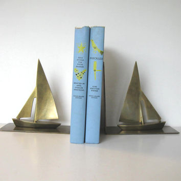 Vintage Solid Vintage Brass Sailboat Bookends, Home and LIving, Home Decor, Beach Cottage Decor, Nautical, gift idea