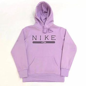 NIKE Fashion Women Men Leisure Long Sleeve Hooded Velvet Sweater Top Sweatshirt Purple