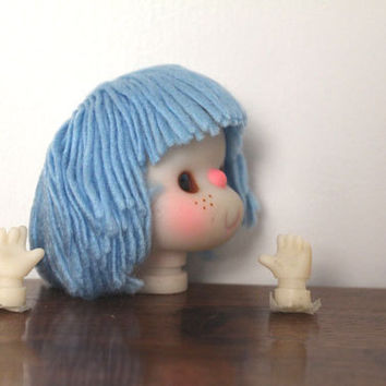 Blue Yarn Doll Head 3.5 Inches with Hands for Doll Maker Craft Supplies
