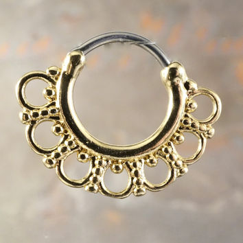 16 Gauge Gold Septum Clicker Daith Ring Nose Piercing