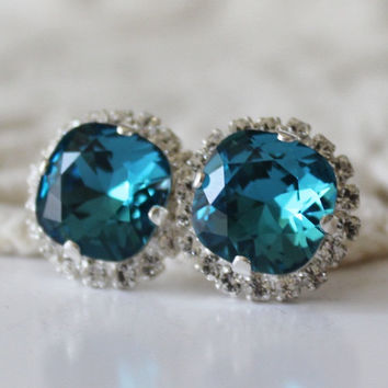 Teal Earrings... Swarovski Crystal... Cushion Cut Faux Diamond... Halo Square Stud Earrings... Indicolite Jade Green Teal