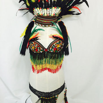 Green, Yellow and Red feather costume EDC / rave outfit / native American headdress
