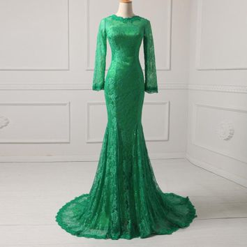 Evening Dresses Long Sleeve Mermaid Lace Formal Party Dress Celebrity Gowns