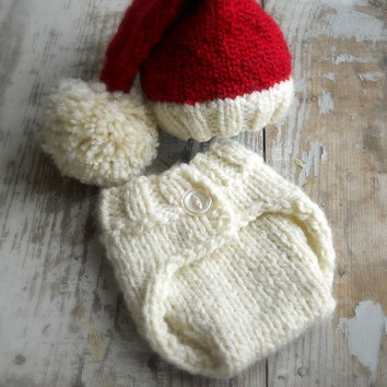 BABY Knit Santa Elf Hat Set, Christmas Newborn Infant Toddler Cap & Diaper Cover Prop, Red Winter White, NB, 0-3 mo, 3-6 mo, Pixie Stocking