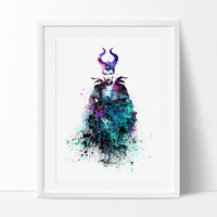 Maleficent Watercolor Print, Maleficent Art, Watercolor Batman Print, Watercolor Print, Disney Wall Art Poster, Disney Art  (196)