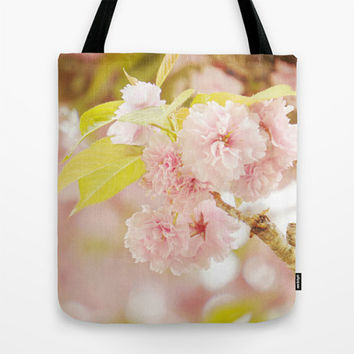 Pink Tote Bag, Pink Flower Photography, Pink Floral Tote, Shabby Chic, Pink, Green, Market Tote, Grocery Tote Bag, Book Bag