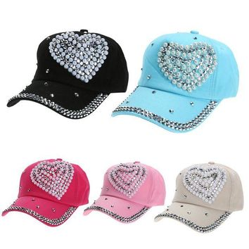 VONG2W Heart Pearl Crystal Decor Hat for Women 2017 Summer Soft Adjustable baseball cap Fashion casquette New Arrival