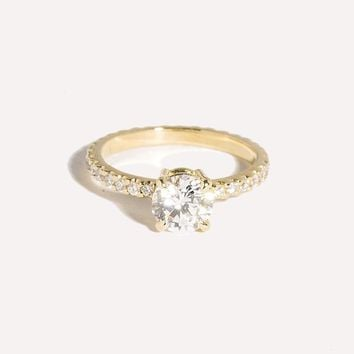 Classic Round Solitaire Pavé Ring