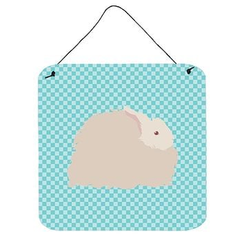 Fluffy Angora Rabbit Blue Check Wall or Door Hanging Prints BB8133DS66