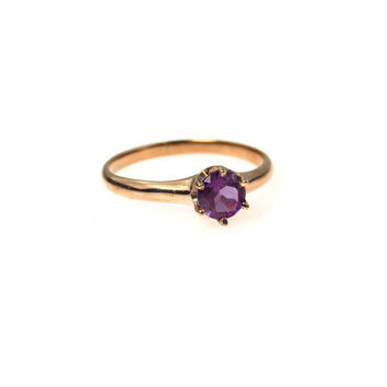 14k Gold Amethyst Solitaire Antique Engagement Ring