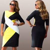 Scoop Geometric Patchwork 3/4 Sleeves Sexy Plus Size Knee-length Dress