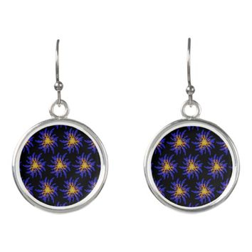 Purple and Yellow Fireworks Abstract Pattern Earrings