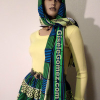 "African Print Scarf – Yellow Blue and Green Kente Multi Usage Item – 100% Cotton 71"" X 14"" Winter Scarf – Multiway Top - Belt - Made in USA"