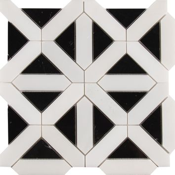Retro Fretwork Random Sized Marble Mosaic Tile in Black/Gray