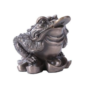 Frog with Coin in Mouth Lucky Feng Shui Statue 4.25H