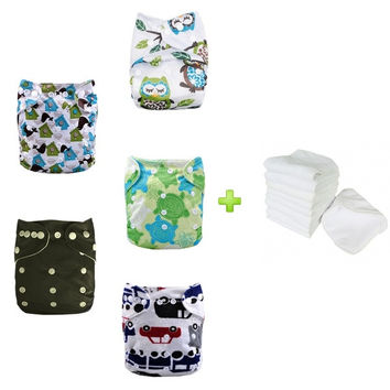Baby Cloth Diapers 5pcs Cotton Reusable Adjustable All in One Size with 5pcs Inserts (Pack of 5) = 1929941252