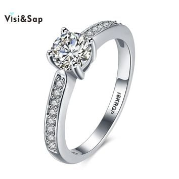 Visisap Simple Elegant Rings For Office Lady Heart Arrow Wedding Ring Fashion Jewelry White Gold Color Best Gifts VLKR815